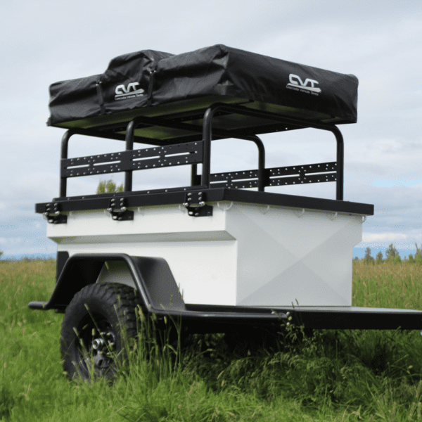 White CVT Trailer with Mt  Denali 4+ person Roof Top Tent