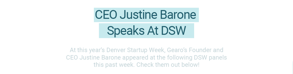 gearo CEO justine barone speaks at denver startup week panel